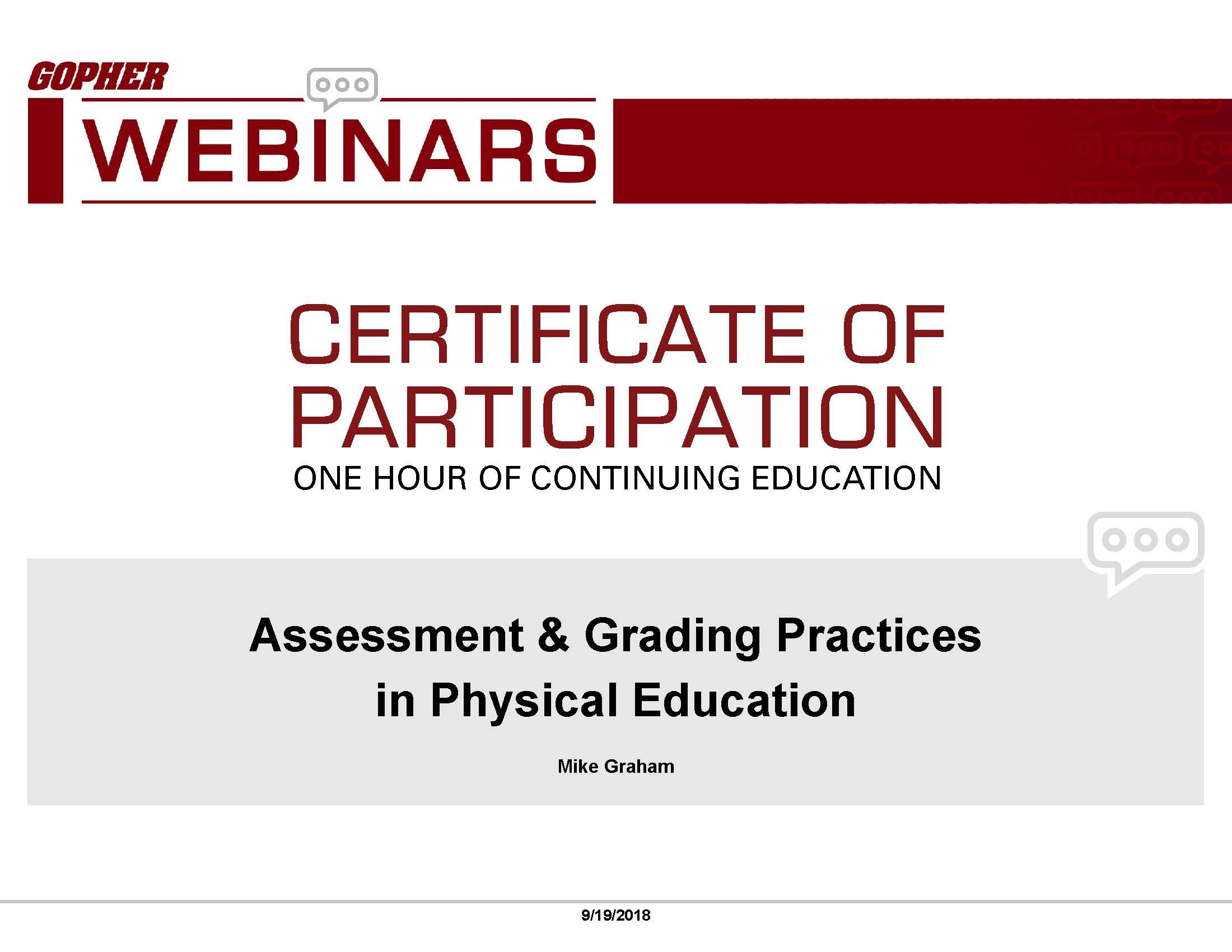 Print a certificate of participation for this webinar
