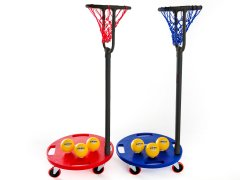 Red and blue set of basketball scooter nets