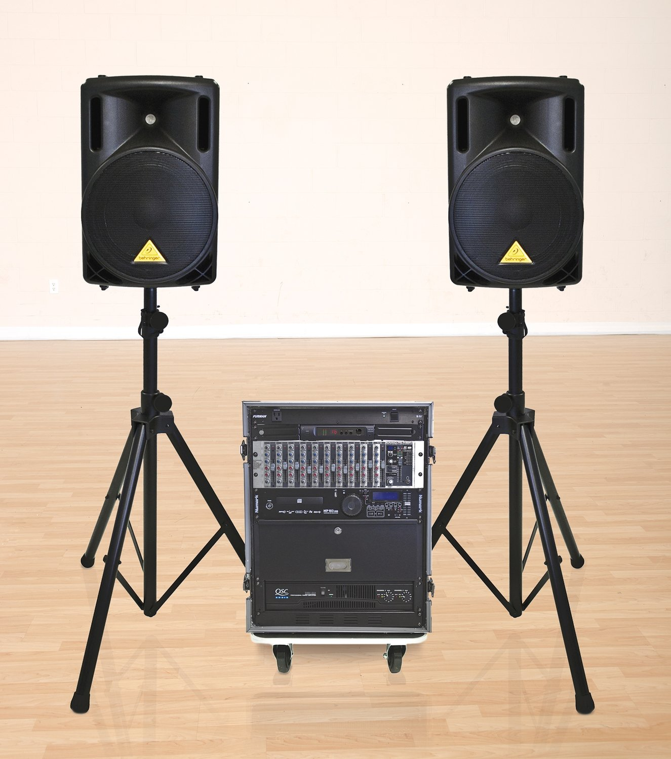 Gym PA system with audio tower