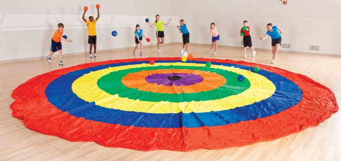 Large bulls eye designed parachute for pre-k activities