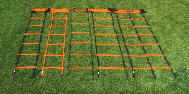 Agility ladders lined up on field