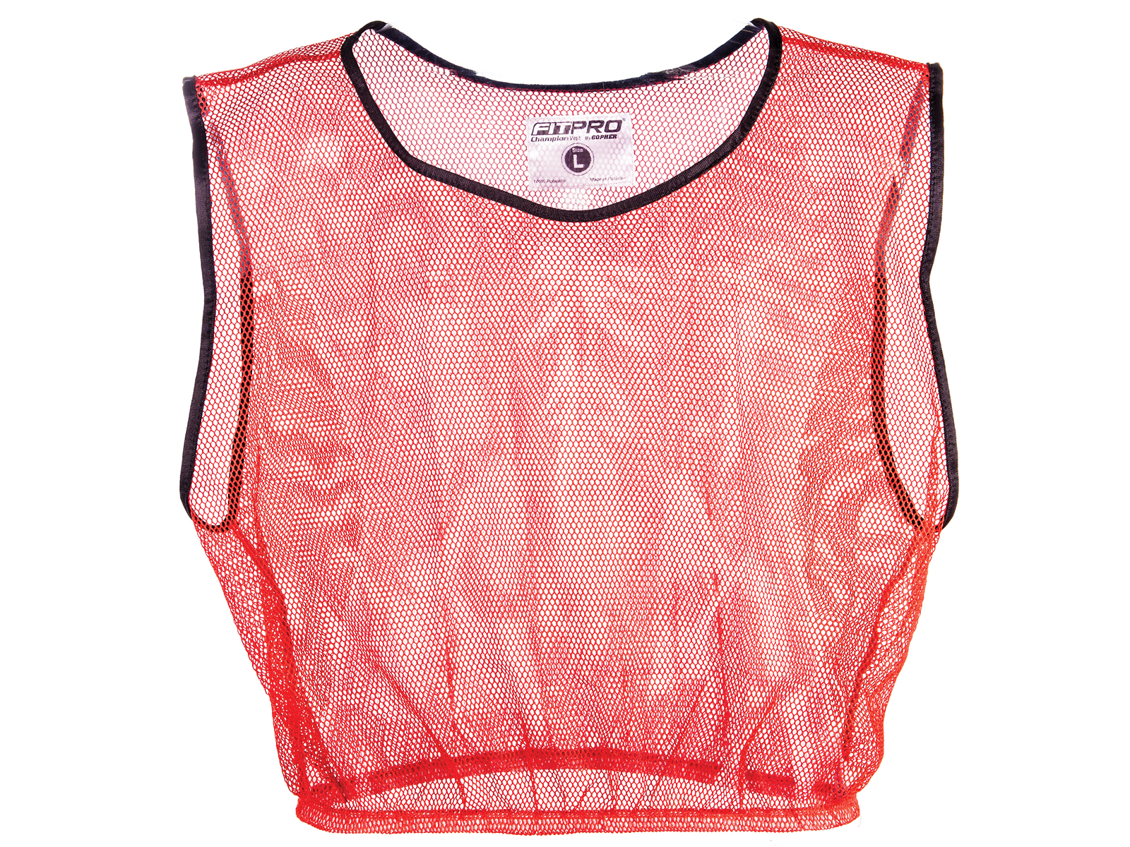 Red mesh polyester pinnie vest