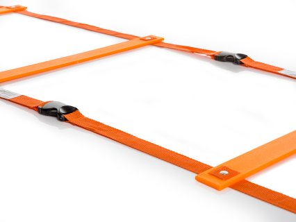 Buckles allow for additional agility ladders to be connected