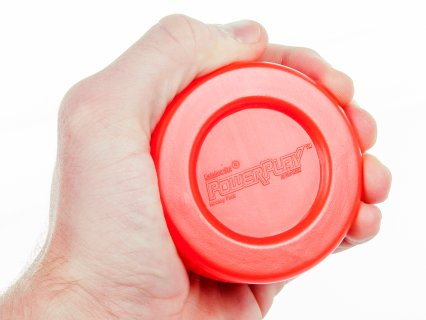Hand squeezing red powerplay PVC puck