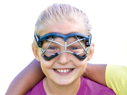Girl wearing black protective goggles