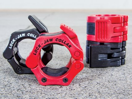 Full of red and black sets of bar locking jaw collars