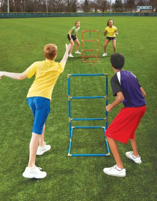 Kids playing triple toss