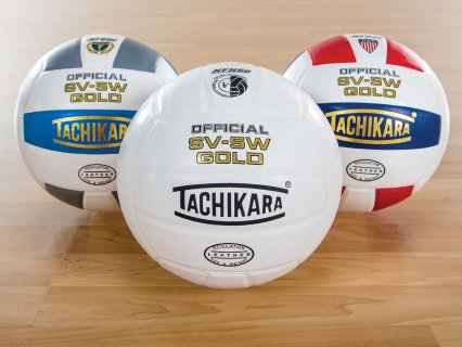 Set of 3 multicolored gold volleyballs