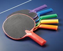 6 table tennis paddles in rainbow colors