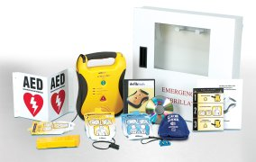 Automated external defibrillator wall set for schools