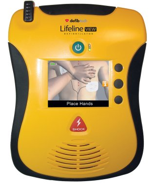 Close up of View mobile LED screen with visual AED prompts