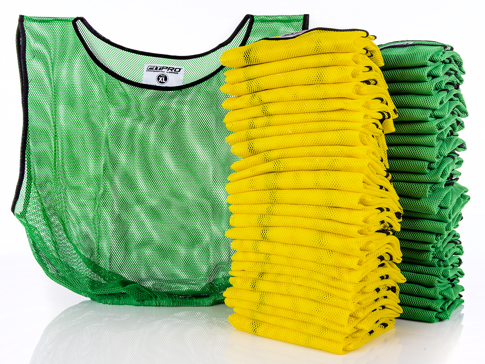 X-large set of 50 mesh yellow and green vest