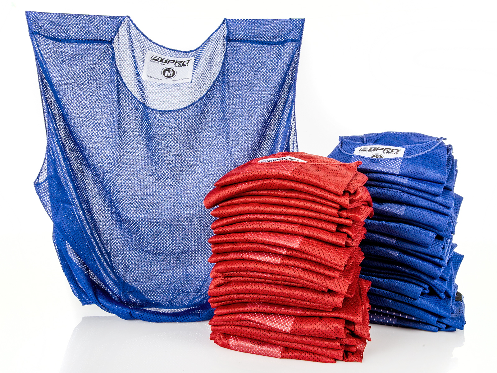 Set of 50 medium blue and red pinnie vests