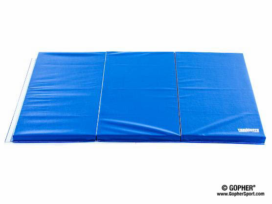 Blue 6 ft by 4 ft 2 inch thick gymnastics mat