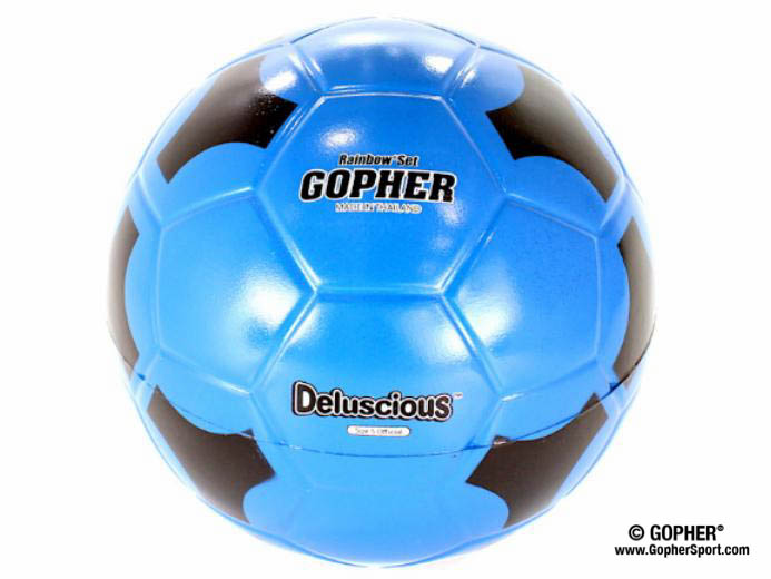 360° view of blue and black foam soccer ball