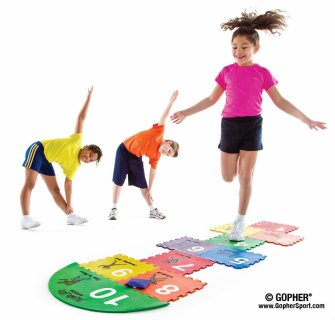 Kids playing exercise hopscotch game