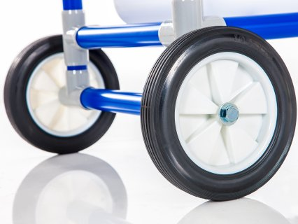 Large wheels on storage rack