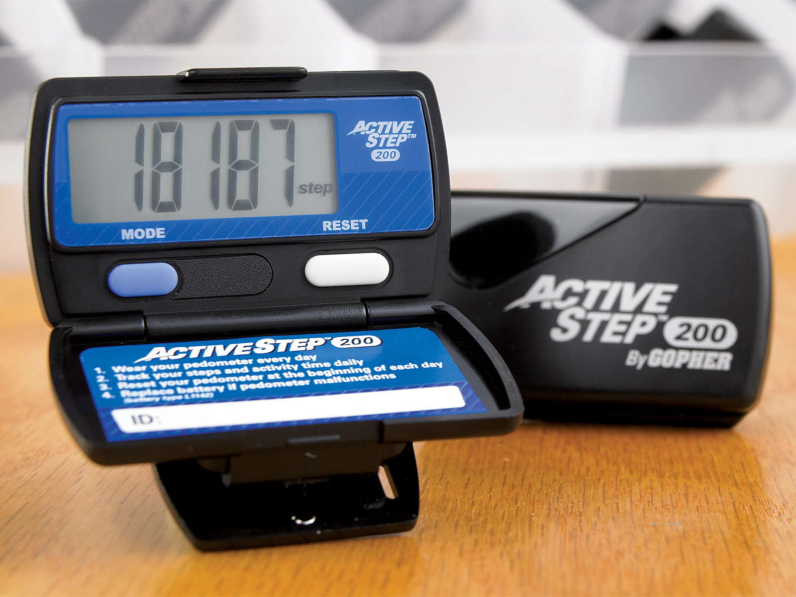 Close up of active step 200 step monitor