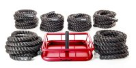 "Large 6 piece set of 30' L and 2"" thick ropes and portable anchor station"