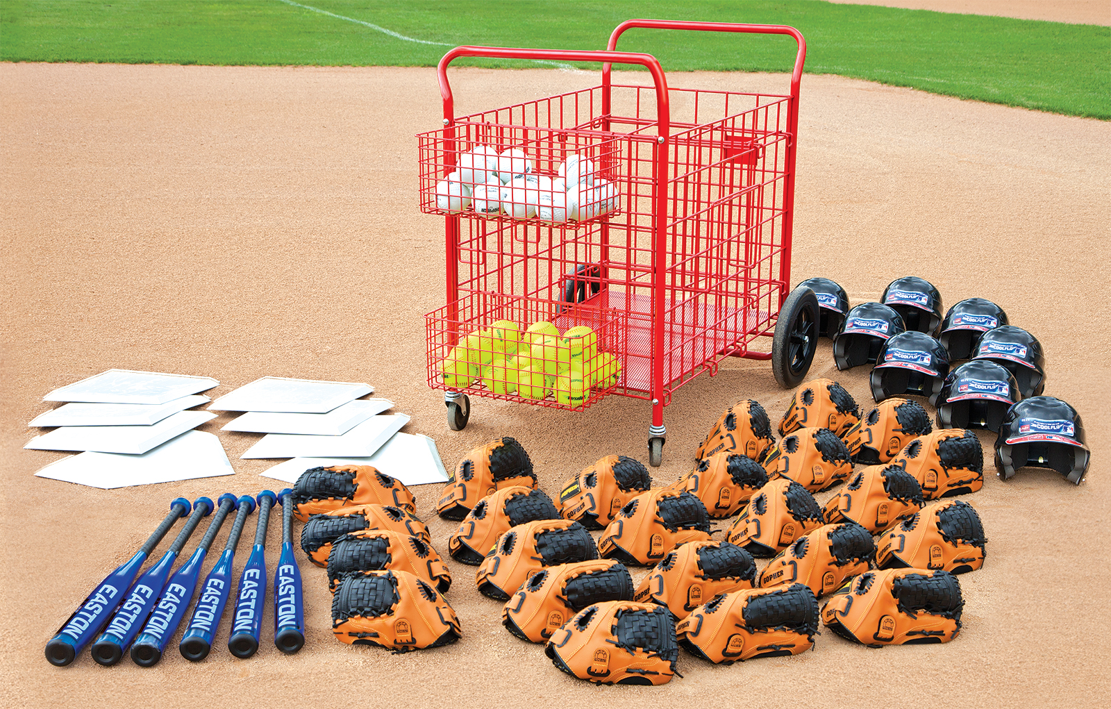 Complete set of baseball equipment