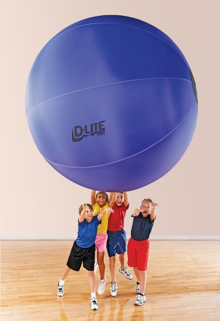 Kids playing with purple 72 inch cage ball