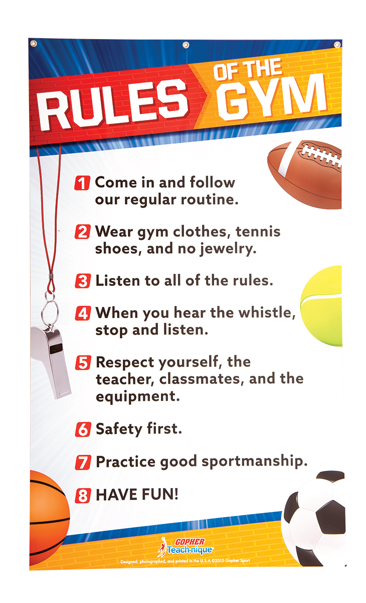 Teach Nique Rules Of The Gym Banner Gopher Sport