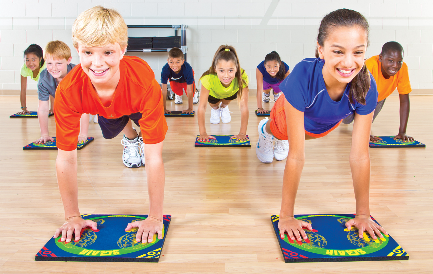 Young children using sqair fitness training set