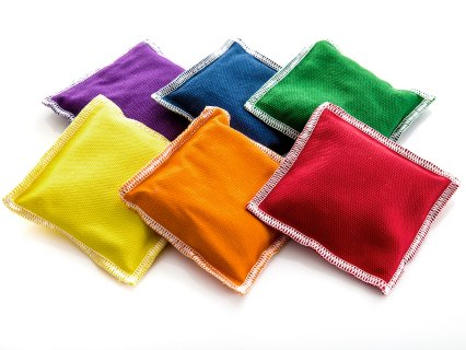 "Rainbow Polyester/Cotton Beanbags - 4"" sq, Set of 6"