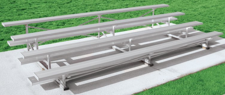 Close up view of 4 row all-aluminum bleachers