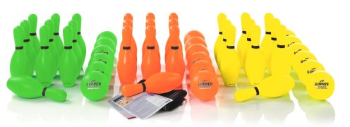 Complete set of neon bowling equipment