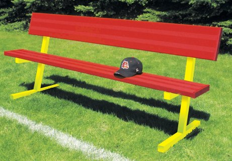 Red and yellow team colored bench