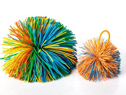 Rubber band balls provide a unique, textured surface