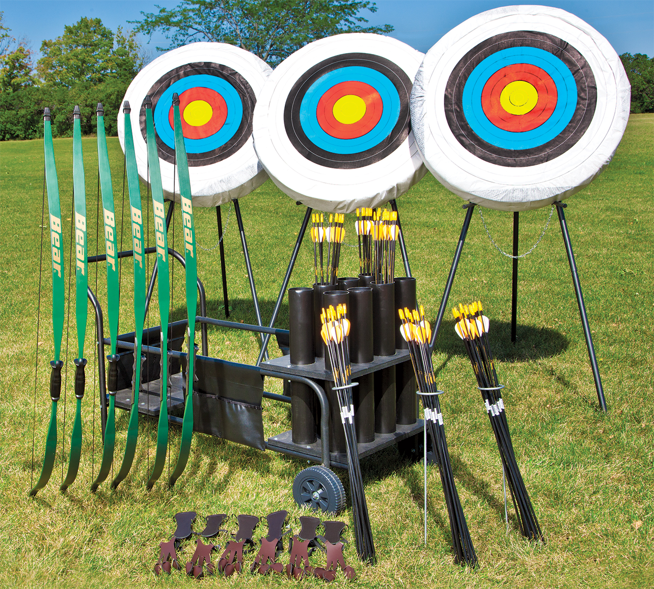 Complete archery pack with bows, arrows, arm guards, and targets with storage cart