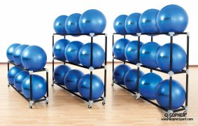 3 storage rack size options of stability balls