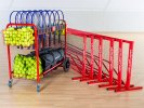Complete set of tennis equipment with storage cart