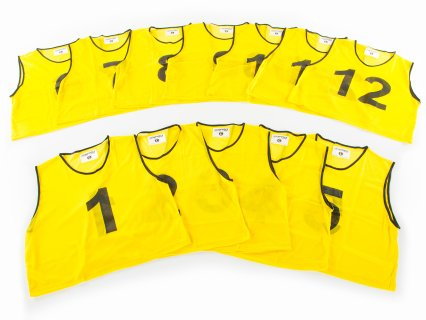 FitPro Numbered Vest - RelaxFit Pack - Set of 12, Yellow