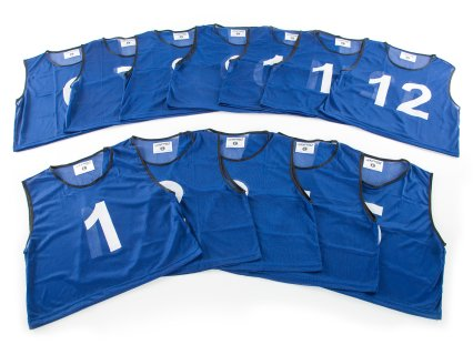 FitPro Numbered Vest - RelaxFit Pack - Set of 12, Blue