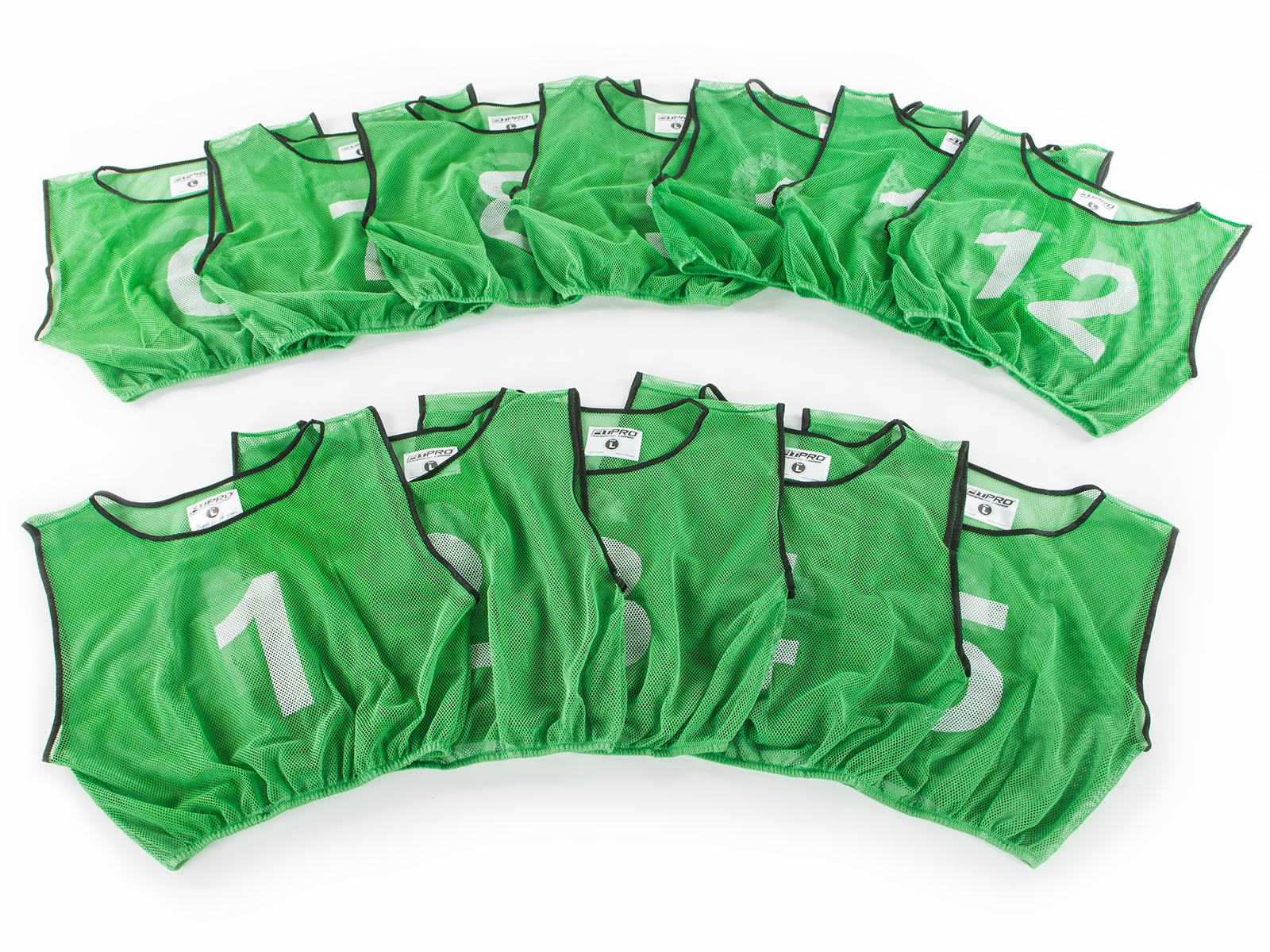 FitPro Champion Numbered Mesh Vest Pack - Large, Green, Set of 12