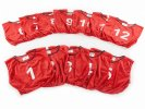 FitPro Competitor Numbered Mesh Vest Pack - Large, Red, Set of 12