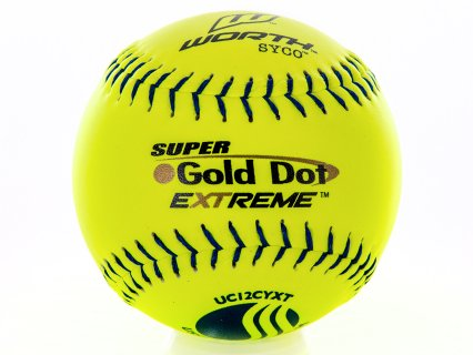 "Worth USSSA Gold Dot UC12LY Slow Pitch Softball - Leather, 12"", Yellow"