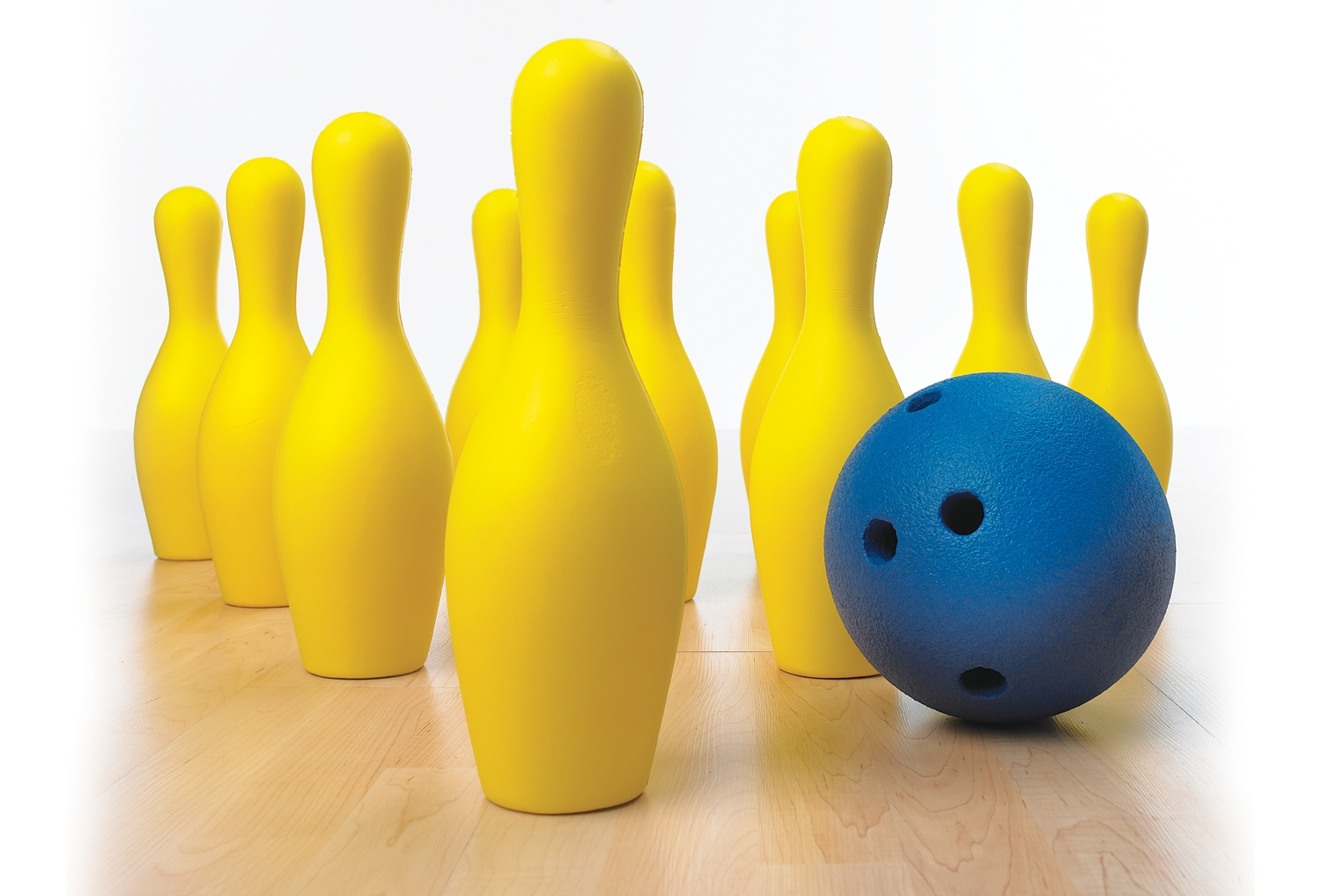 Yellow solid-foam bowling set with bowling ball