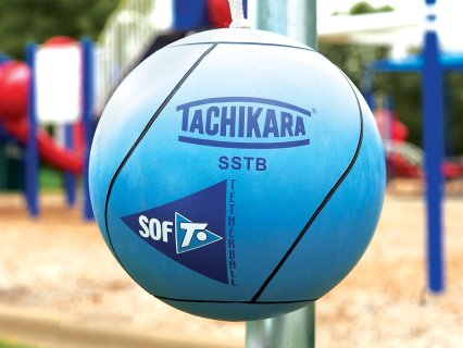 Close up of blue sof-t tetherball