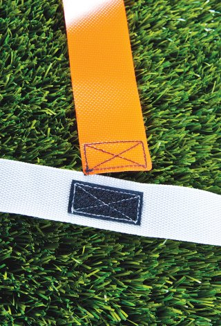 Velcro patch on flag belts