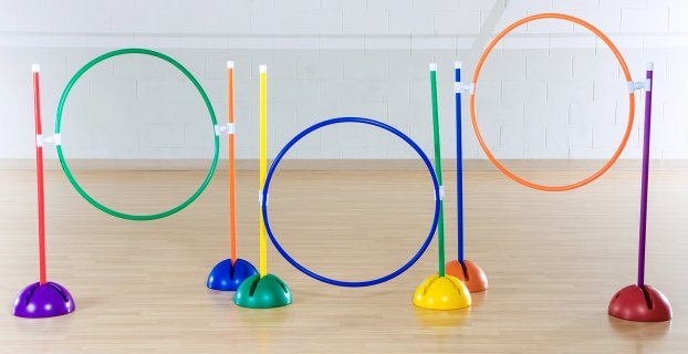 Rainbow set of hoops for obstacle course