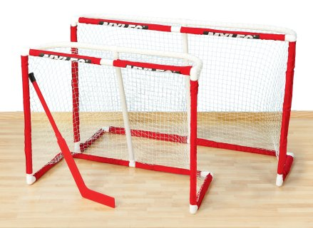 Set of compact and official floor hockey goals
