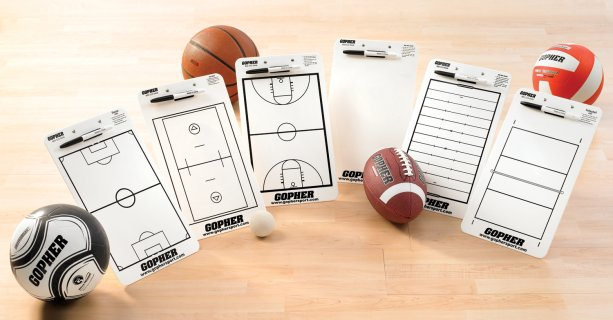 Various sports dry erase clipboards for coaches