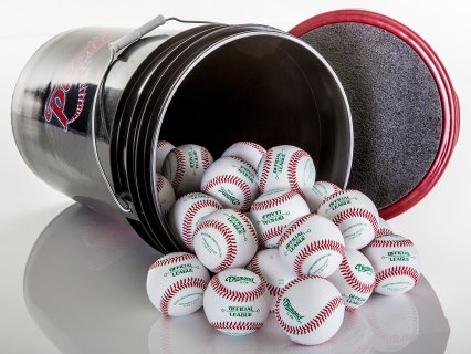 Durable bucket securely stores and transports balls