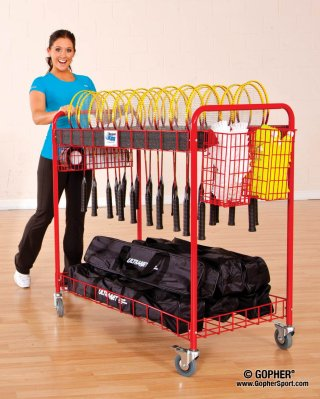 Woman rolling badminton storage cart