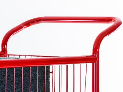 Handle makes cart easy to push