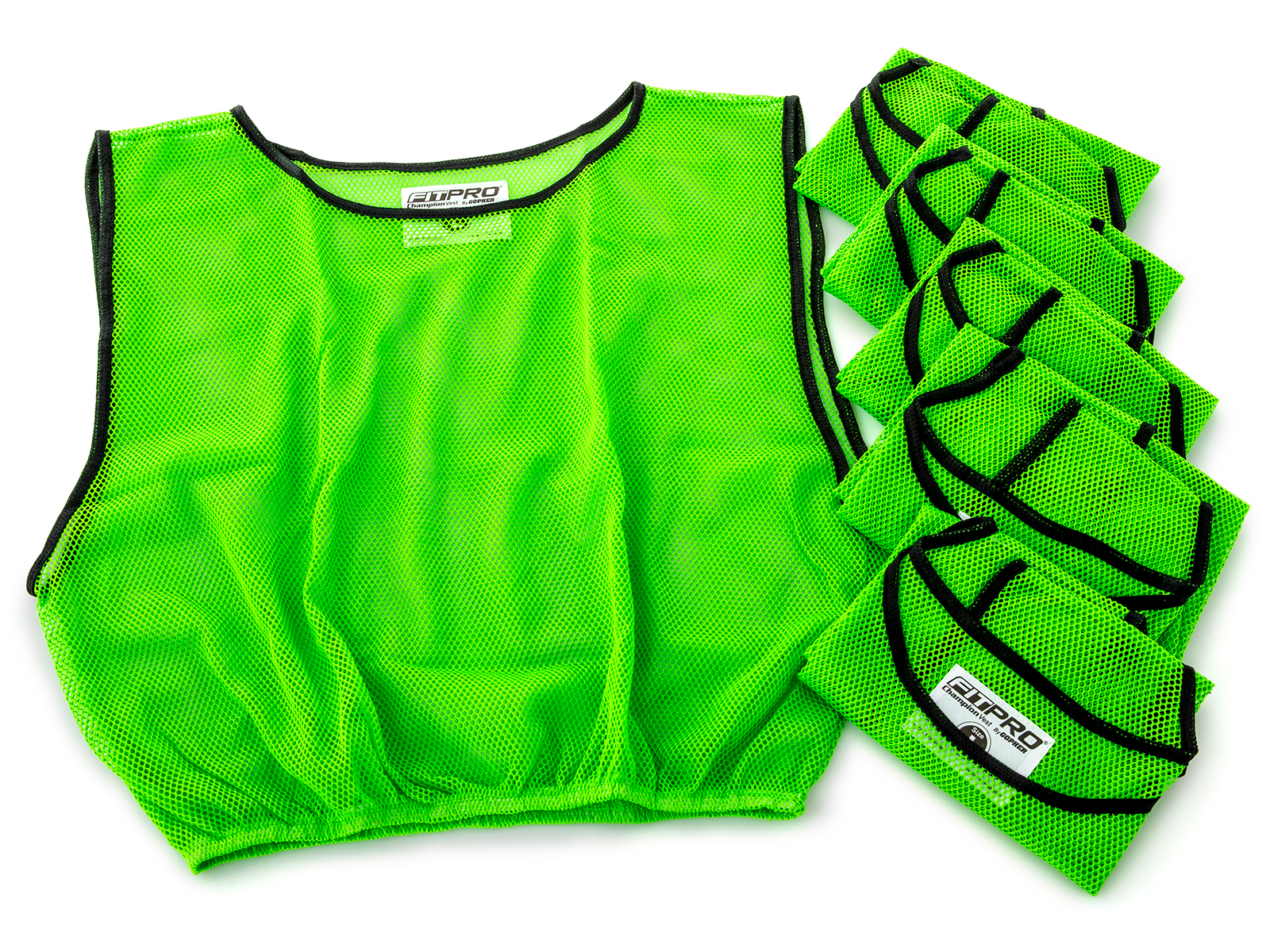 Set of screamin' green pinnie vests